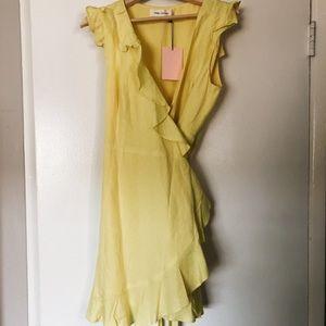 Fame & Partners yellow wrap mini dress